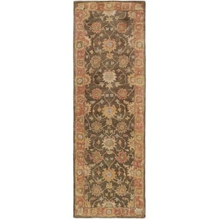 """Hand-Tufted Maghull Border Indoor Wool Area Rug - 2'6"""" x 8' Runner"""