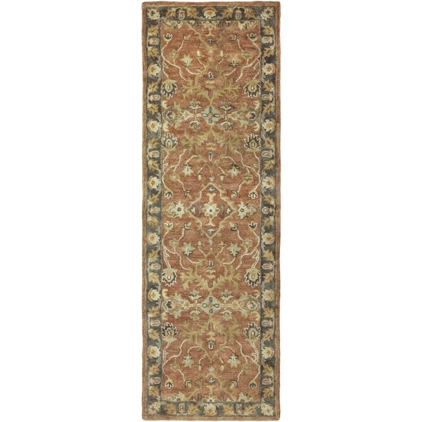 Hand-Tufted Morpeth Border Indoor Wool Area Rug (2'6 x 8')