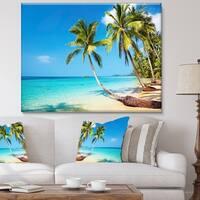 Designart - Tropical Beach  Photography Seascape Canvas Print - Green
