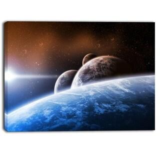 Designart - Space Planet Landscape Digital Canvas Art Print - Blue