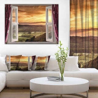 Designart - Open Window to Rural Landscape Contemporary Canvas Art Print