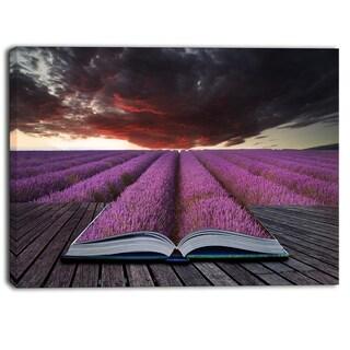 Designart - Book Open to Lavender Field  Floral Canvas Art Print