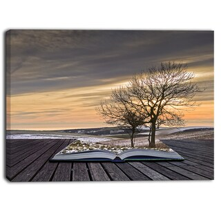 Designart - Winter Coming out of Pages Contemporary Art Canvas Print - Yellow/Grey