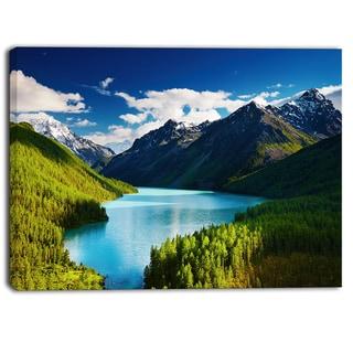 Designart - Mountain Lake in Dark Shade - Landscape Photo Canvas Art Print - Green