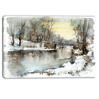 Designart - White Bridge Over River - Landscape Canvas Print