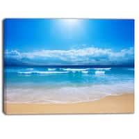 Designart - Paradise Beach  Seascape Photography Canvas Print - Blue