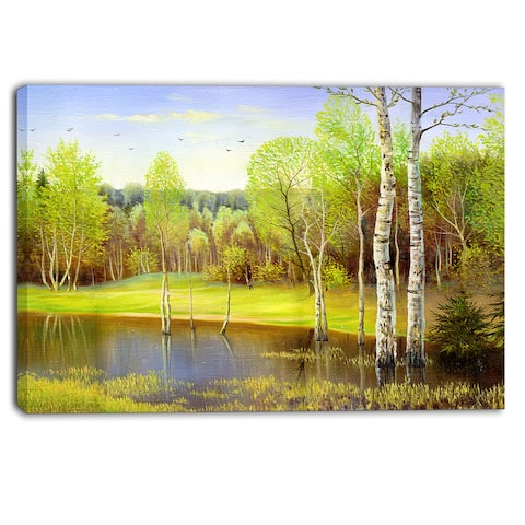 Designart - Light Green Autumn - Landscape Canvas Art Print