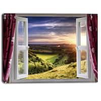 Designart - Window View - Landscape Contemporary Canvas Art Print - Green