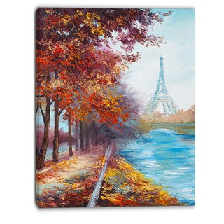 Designart - Eiffel Tower View in Fall- Landscape Canvas Artwork - Red