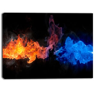 Designart - Blue and Red Fire  Contemporary Artwork