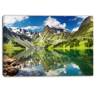 Designart - Reflecting Mountain Lake - Landscape Canvas Artwork
