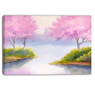 Designart - Flowering Trees Over River - Landscape Canvas Print