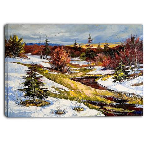 Designart - Spring Valley with River - Landscape Canvas Print - White