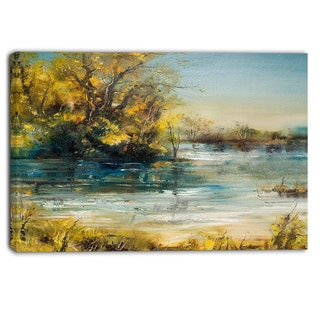 Designart - Trees by the Lake - Landscape Canvas Art Print