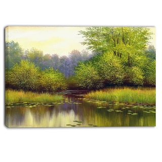 Designart - Green Summer with River - Landscape Canvas Print