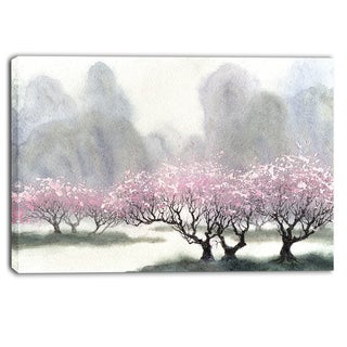 Designart - Flowering Trees at Spring - Landscape Canvas Print
