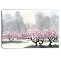 Designart - Flowering Trees at Spring - Landscape Canvas Print - Pink