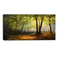 Designart - Summer Forest - Landscape Canvas Art Print - Green
