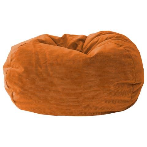 "GOLD MEDAL® Bean Bag, Microsuede Corduroy, Small 105"" Harvest Orange"