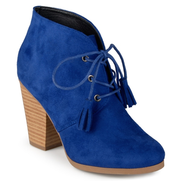 Journee Collection Women's 'Wen' Black/Blue/Grey Faux Suede Lace-up Ankle Booties