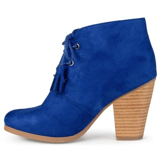 Journee Collection Women's 'Wen' Faux Suede Lace-up Ankle Booties