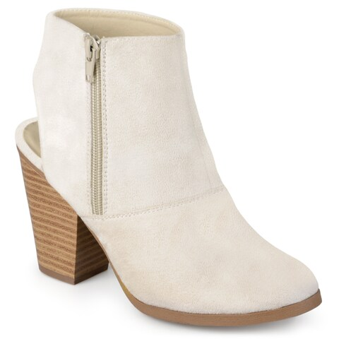 Journee Collection Women's 'Tay' Faux Suede Cut-out Heel Booties