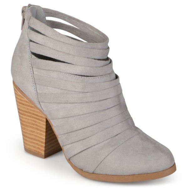 Womens Faux Suede Strappy Ankle Booties