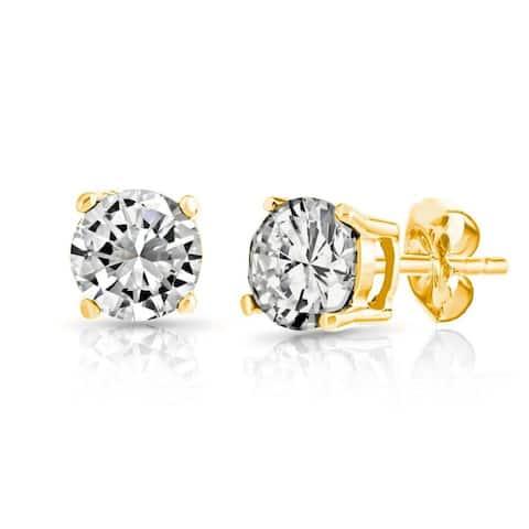 Pori 14k Gold Cubic Zirconia Stud Earrings