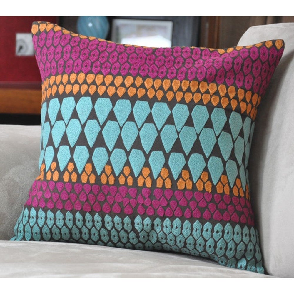 Shop Cottage Home Lola Cotton 16 inch Throw Pillow - Overstock - 11332234
