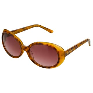 Laura Ashley Women's Tortoise Oversized Retro Vintage Round Sunglasses