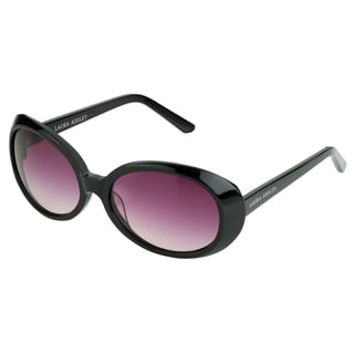 Laura Ashley Women's Black Oversized Retro Vintage Round Sunglasses