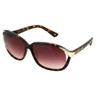 Laura Ashley Women's Tortoise with Metal Endpiece Round Sunglasses