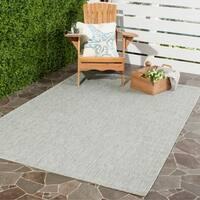 Safavieh Indoor/ Outdoor Courtyard Grey/ Turquoise Rug - 4' x 5'7