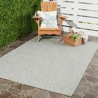 Safavieh Indoor/ Outdoor Courtyard Grey/ Turquoise Rug - 8' X 11'