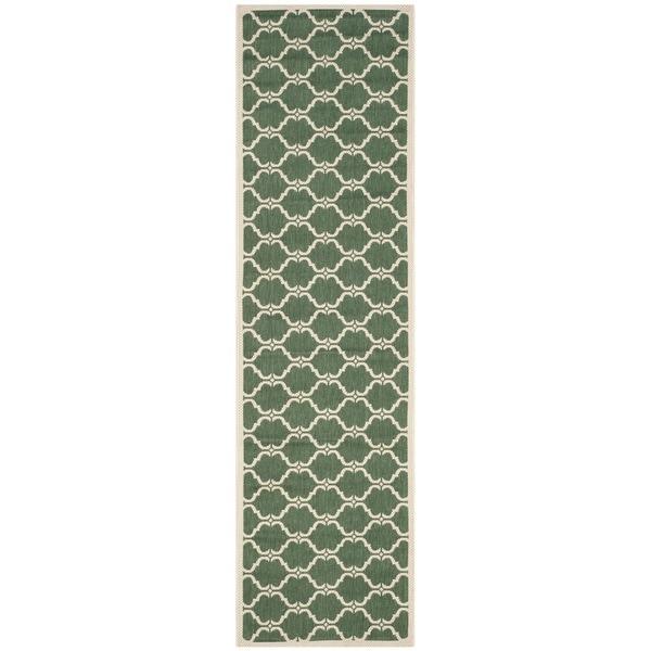 Safavieh Courtyard Moroccan Dark Green/ Beige Indoor/ Outdoor Rug - 2'3 x 8'