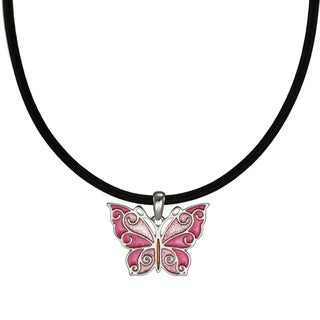 Handmade Jewelry by Dawn Pink Butterfly Greek Leather Cord Necklace (USA)