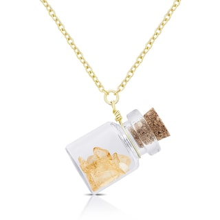 Dolce Giavonna Gold Over Silver Birthstone in a Jar Necklace