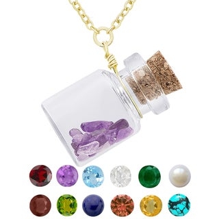 Dolce Giavonna Gold Over Silver Birthstone in a Jar Necklace (Option: Tourmaline)