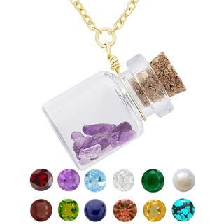 Dolce Giavonna Gold Over Silver Birthstone in a Jar Necklace|https://ak1.ostkcdn.com/images/products/11332684/P18308209.jpg?impolicy=medium