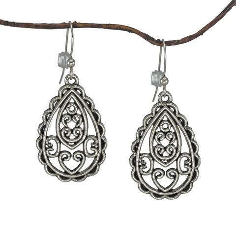 Handmade Jewelry by Dawn Antique Silver Pewter Filigree Teardrop Earrings (USA)