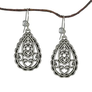 Jewelry by Dawn Antique Silver Pewter Filigree Teardrop Earrings