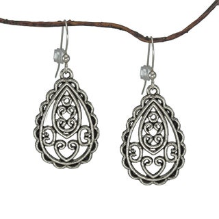 Handmade Jewelry by Dawn Antique Silver Pewter Filigree Teardrop Earrings (USA)