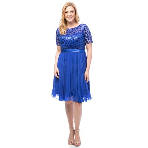 Robin DS Women's Plus Shiny Sequinned top Cocktail Dress with Pleated Chiffon Skirt