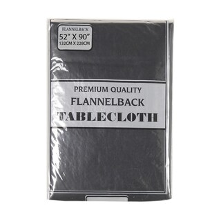 Carnation Home Fashions 52'' x 90,'' Vinyl Tablecloth with Polyester Flannel Backing (Option: Black)