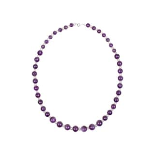 Sterling Silver Amethyst and White Freshwater Cultured Round Pearl Necklace