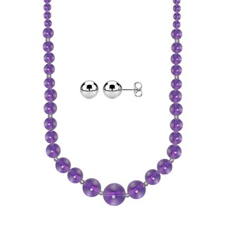 Sterling Silver Graduated 6-14mm Amethyst Bead Necklace with 5mm Ball Studs Set