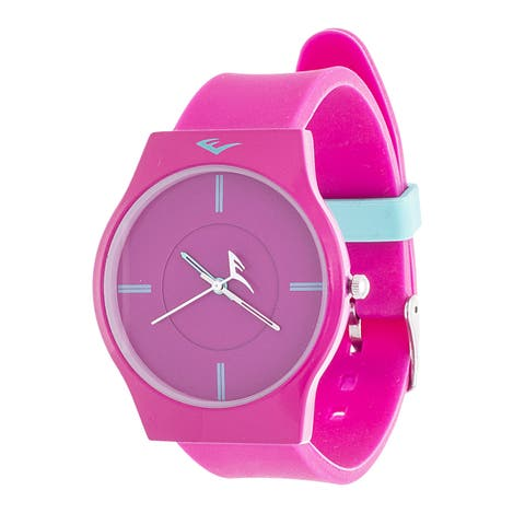 Everlast Slim Men's Round Analog Sport Watch with Pink Rubber Strap