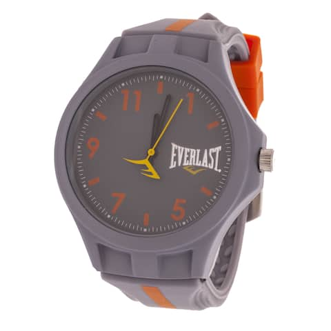 Everlast Men's Round Analog Sport Fashion Watch with Grey Rubber Strap