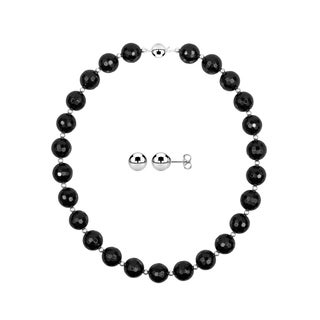 14mm Round Faceted Black Agate Necklace with 5mm Round Ball Studs Earrings