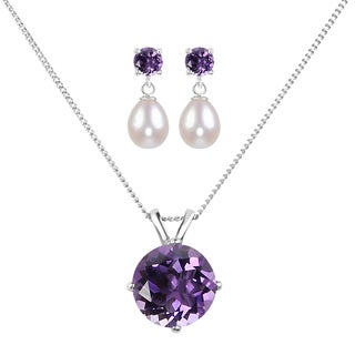 Sterling Silver Round Amethyst and White Freshwater Cultured Tear Drop Pearl Pendant and Earring Set